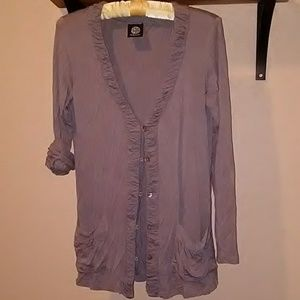 Bobeau M dusty lavender, button up cardigan